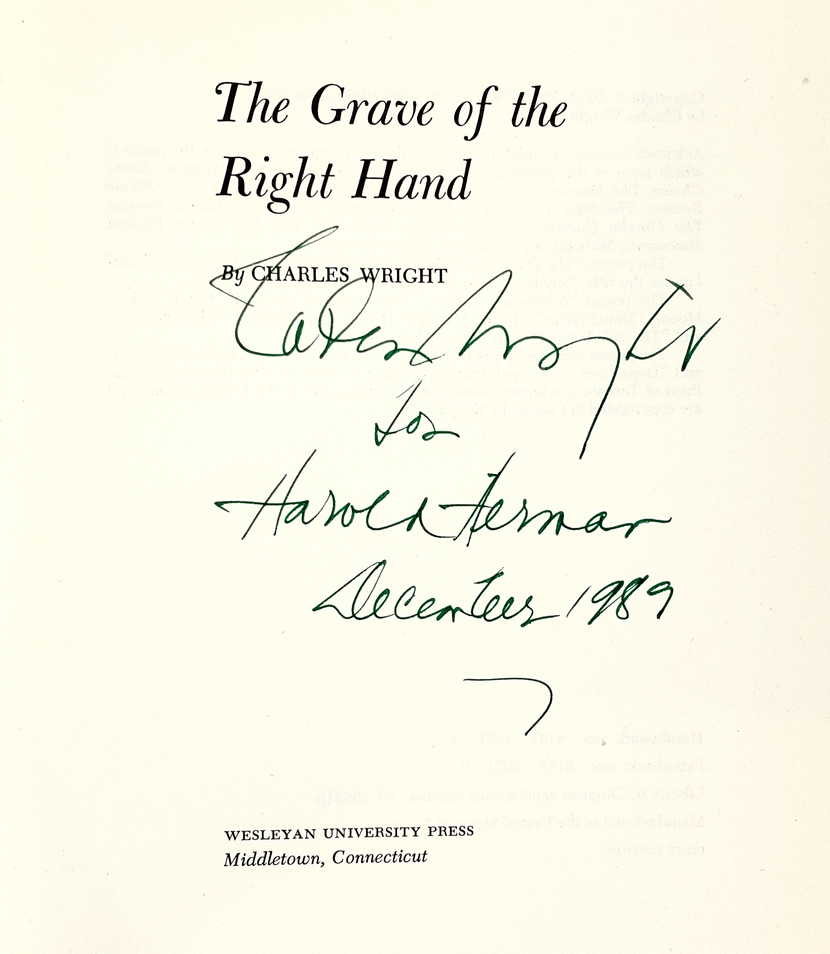 The Grave of the Right Hand by Charles Wright on Capitol Hill Books