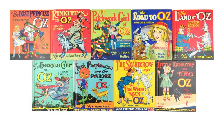 [Complete set of 9 Oz Junior Editions incl.:] The Scarecrow and the Tin Woodman of Oz [with] Princess Ozma of Oz; Little Dorothy and Toto of Oz [with] The Cowardly Lion and the Hungry Tiger of Oz; Jack Pumpkinhead and the Sawhorse of Oz [with] Tik-Tok and the Gnome King of Oz; The Emerald City of Oz; The Land of Oz; The Road to Oz; The Patchwork Girl of Oz; Rinkitink of Oz; and The Lost Princess of Oz. L. Frank Baum, John R. Neill.