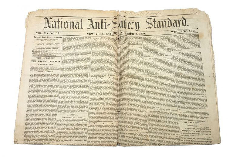 National Anti-Slavery Standard, Vol. XX No. 25, November 6, 1859. American Anti-Slavery Society.