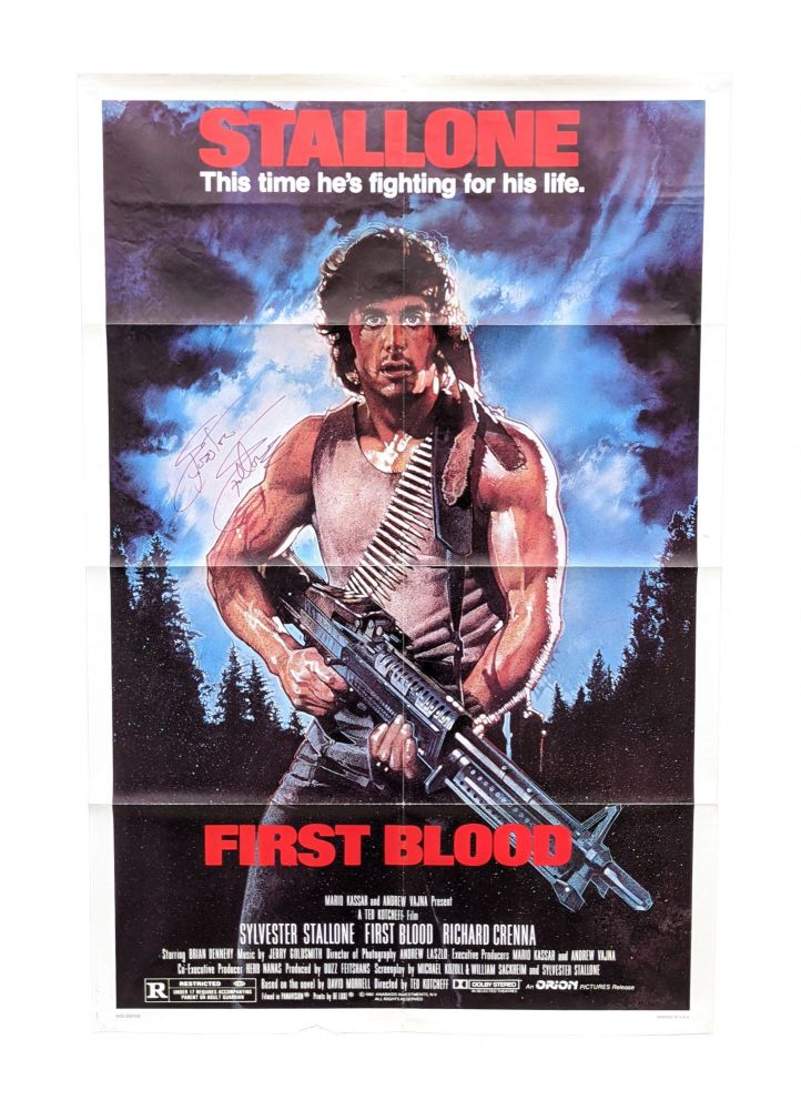 Rambo: First Blood (Original Film Poster - NSS 820158) [Signed by Stallone and Morrell]. Ted Kotcheff, Sylvester Stallone, Davd Morrell, dir., starring co-author, novel.