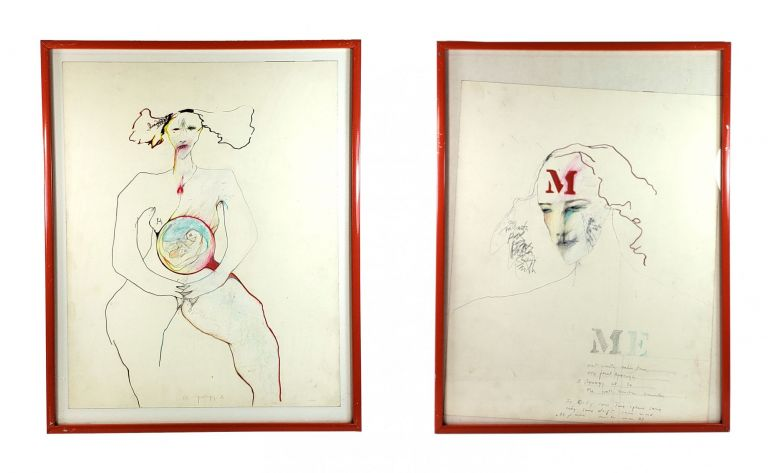 Apology 2, Apology 3 - Original Self-Portraits [Two in a series, one inscribed). Patti Smith.
