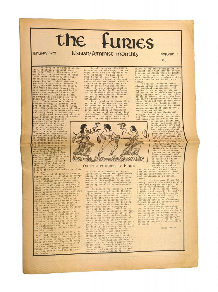 The Furies: Lesbian / Feminist Monthly (January 1972 - Issue 1). Ginny Berson, Herlaine Harris, et. al.