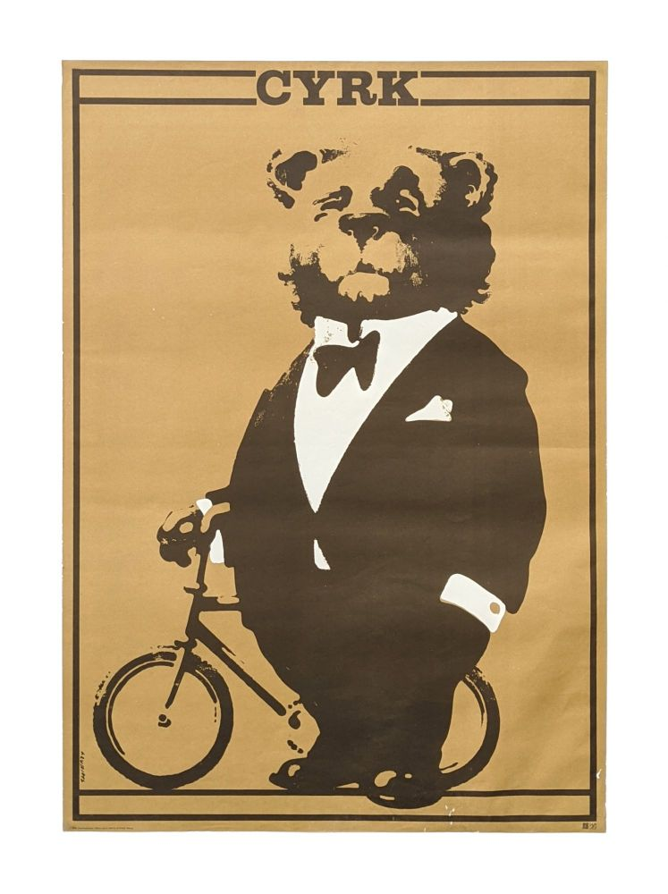 CYRK [Circus] poster for Polish State Circus Agency - Bear in tuxedo with his bicycle. Waldemar Świerzy.