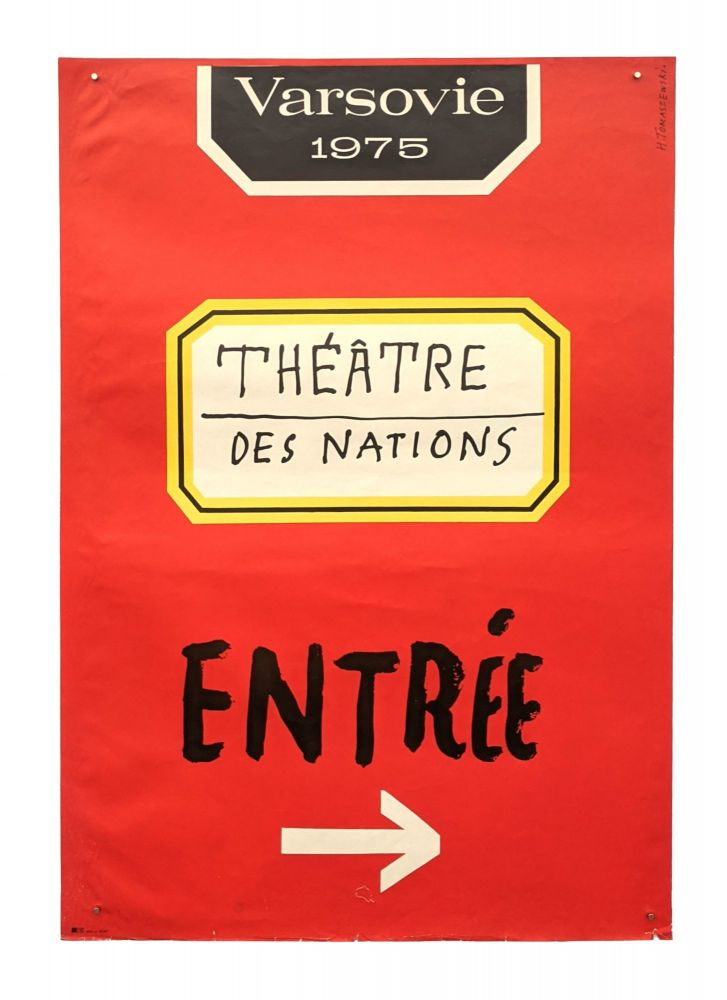 Publicity for the Théâtre des Nations in Warsaw - Entry sign in French. Henryk Tomaszewski.
