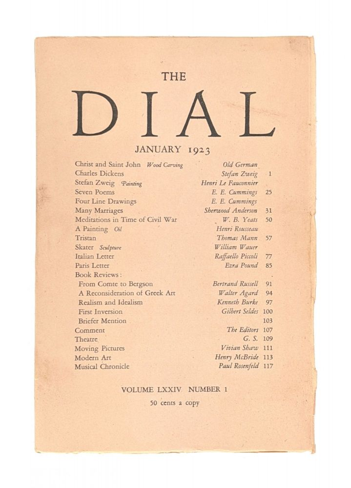 The Dial, January 1923, Volume LXXIV, Number 1 [containing Seven Poems and Four Line Drawings by Cummings]. E. E. Cummings, Scofield Thayer, Gilbert Seldes, contrib., ed.