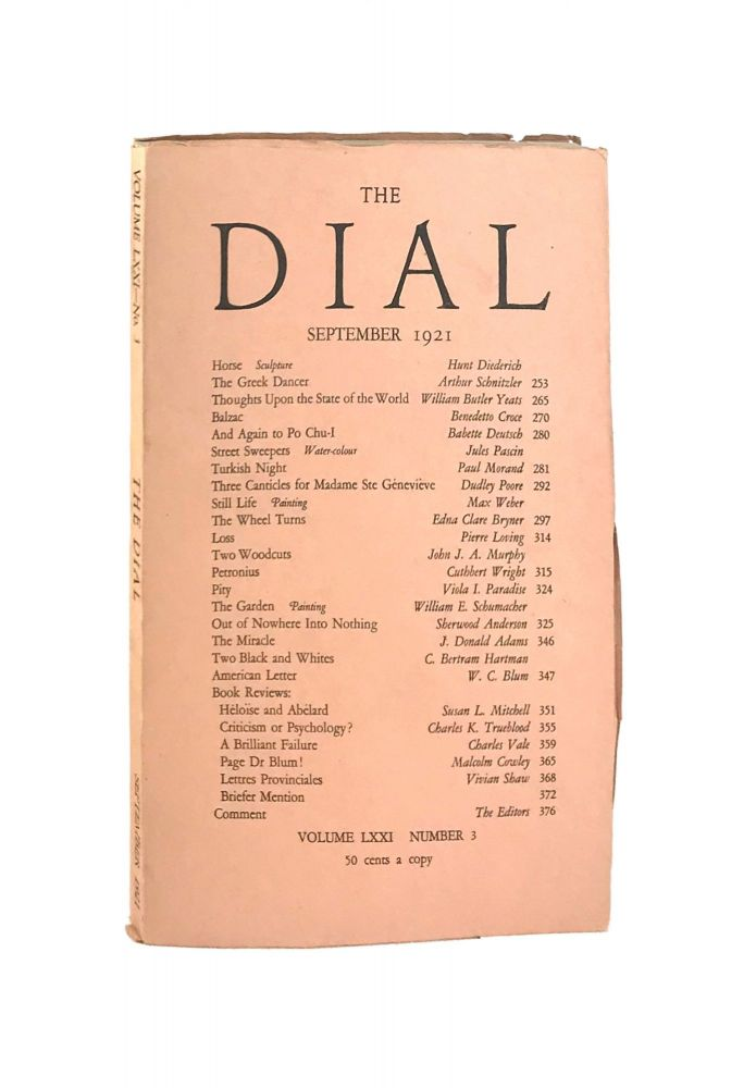 The Dial, September 1921, Volume LXXI, Number 3 [containing Thoughts Upon the State of the World by Yeats]. William Butler Yeats, Scofield Thayer, Gilbert Seldes, contrib., ed.