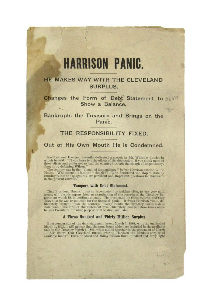 Harrison Panic. He Makes Way with the Cleveland Surplus. Benjamin Harrison.