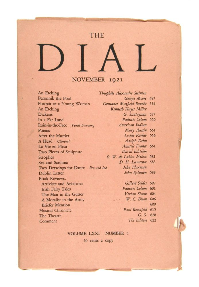 "The Dial, November 1921, Volume LXXI Number 5 [containing the drawing ""Rain-in-the-Face"" by an unidentified Native American]. American Indian, Scofield Thayer, Gilbert Seldes, contrib., ed."