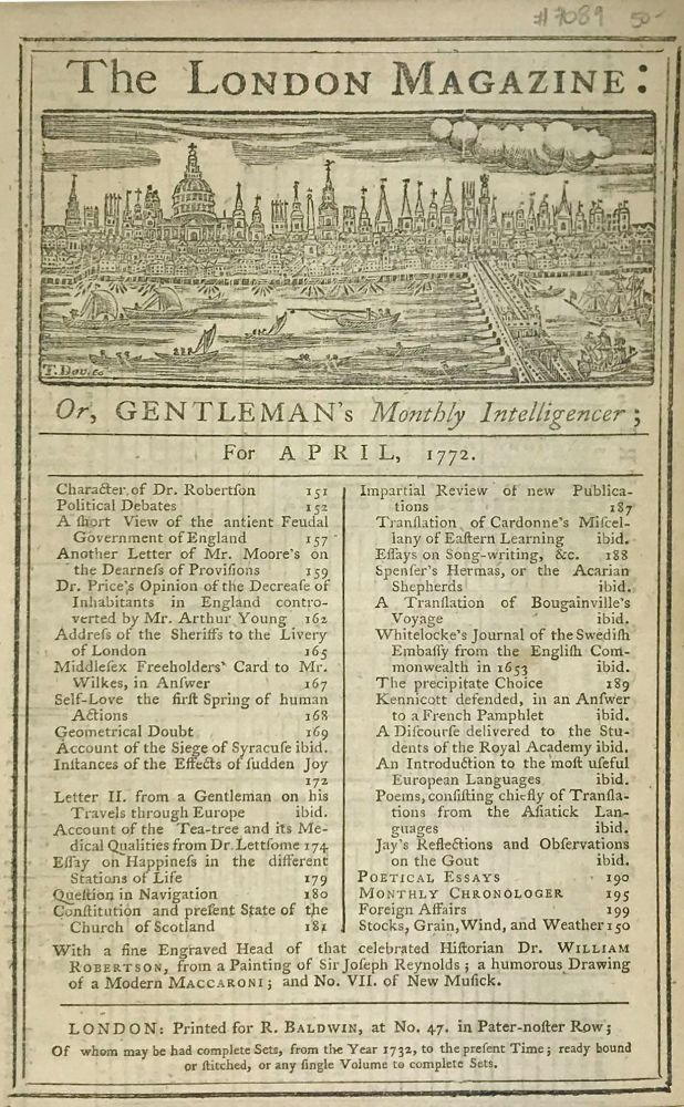 The London Magazine: Or, Gentleman's Monthly Intelligencer; for April, 1772. R. Baldwin, pub.