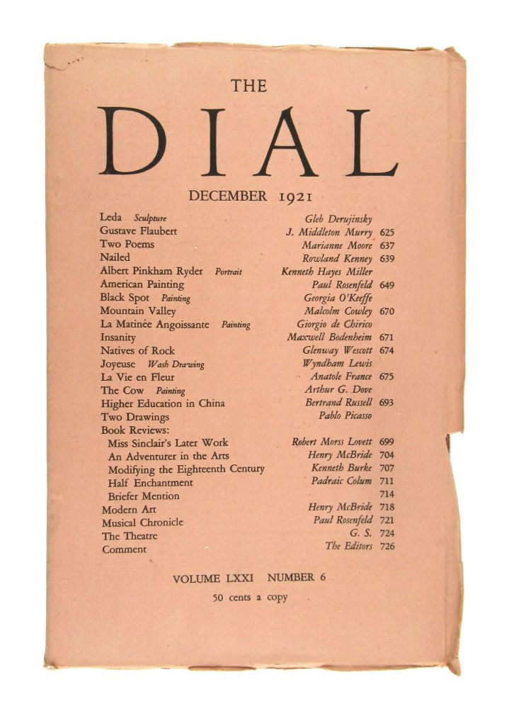 The Dial, December 1921, Volume LXXI, Number 6 [featuring Black Spot by O'Keeffe]. Georgia O'Keeffe, Scofield Thayer, Gilbert Seldes, ed.