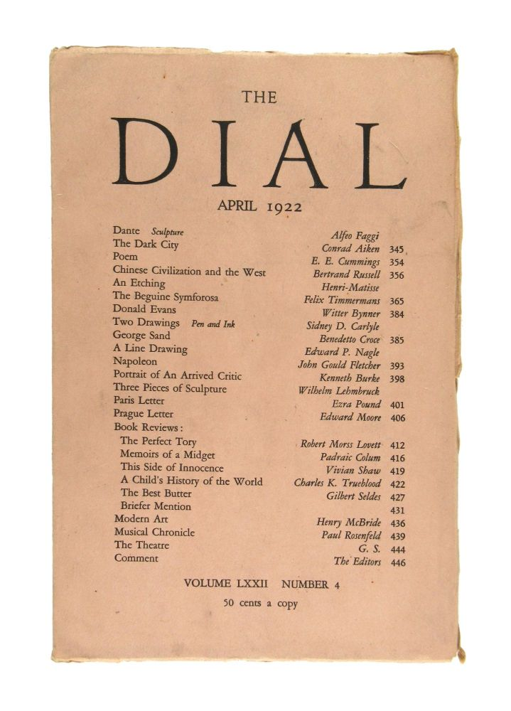The Dial, April 1922, Volume LXXII, Number 4 [featuring Poem by Cummings]. E. E. Cummings Scofield Thayer, Gilbert Seldes, contrib., ed.