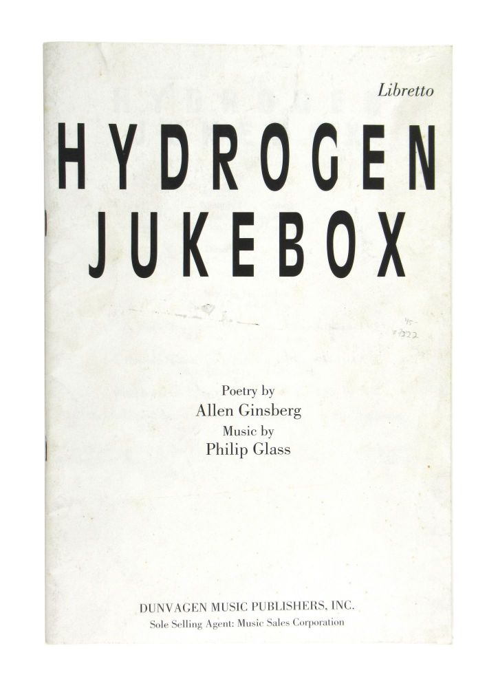 Hydrogen Jukebox. Allen Ginsberg, Philip Glass.