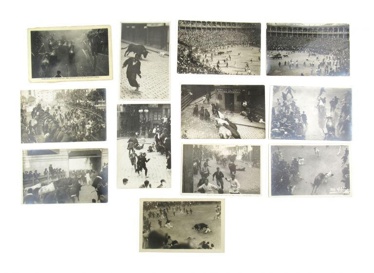 Collection of Twelve Real Photo Postcards of the Running of the Bulls in Spain. J. Elosúa.