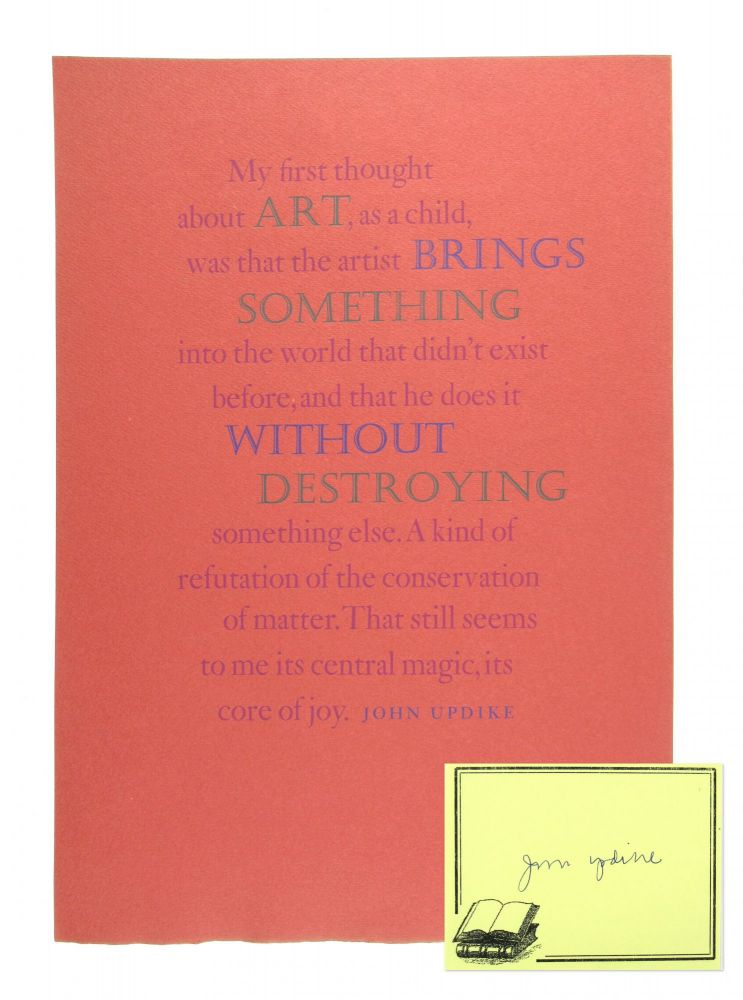 [Broadsheet] My First Thought About Art... [Limited Edition, With Signed Bookplate]. John Updike.
