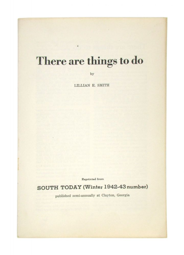 There Are Things to Do. Lillian E. Smith.