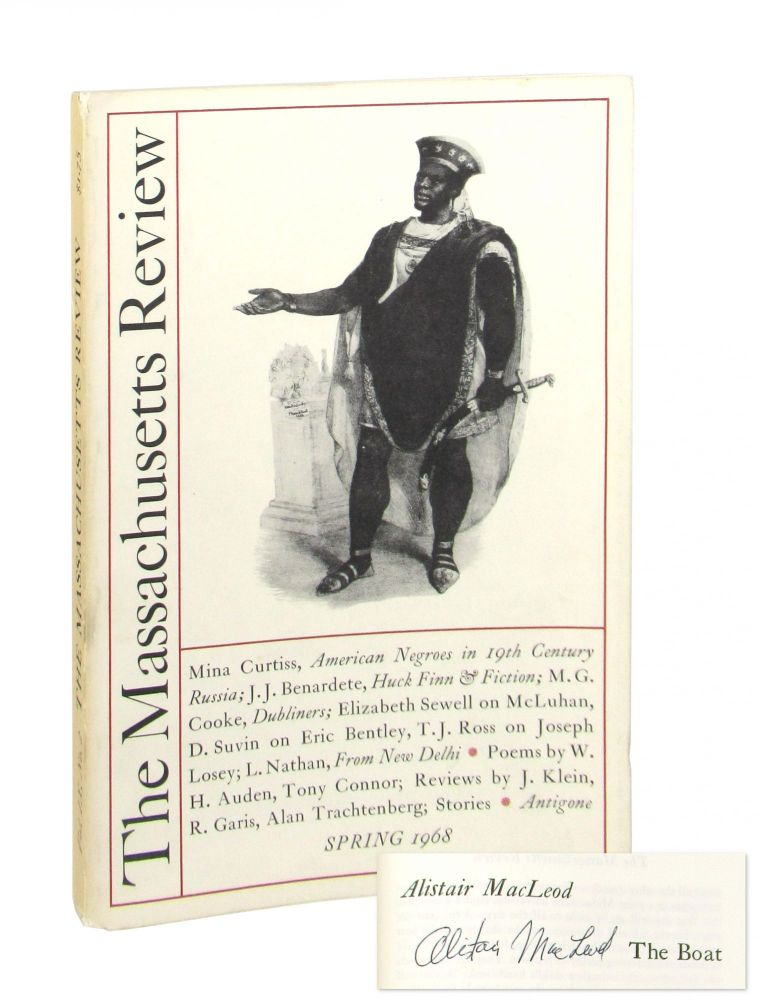 """""""The Boat,"""" The Massachusetts Review: Spring 1968 [Signed, MacLeod's debut publication]. Alistair MacLeod, Jules Chametzky, John H. Hicks, ed."""