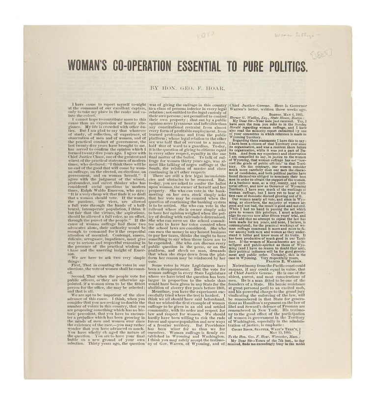 Woman's Co-Operation Essential to Pure Politics. George Frisbie Hoar.