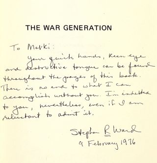 The War Generation: Veterans of The First War [Signed by Ward]