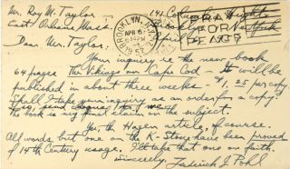 The Lost Discovery: Uncovering the Track of the Vikings in America [Autograph Postcard, Signed, Laid in]