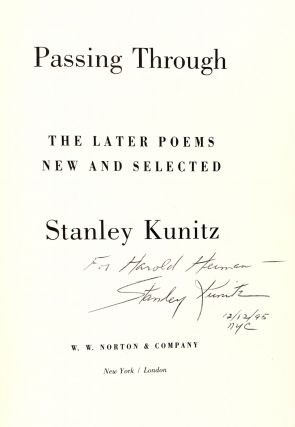 Passing Through: The Later Poems New and Selected