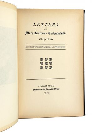 Letters of Mary Boardman Crowninshield