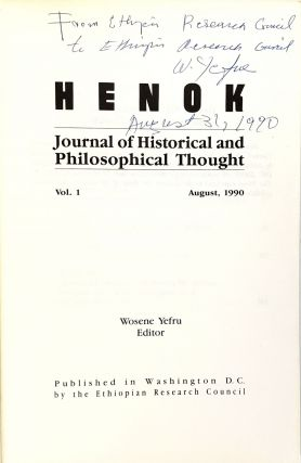 Henok: Journal of Historical and Philosophical Thought, Vol. 1