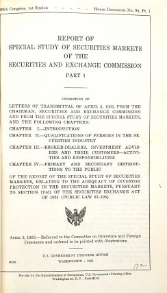 Report of Special Study of Securities Markets of the Securities and Exchange Commission [Five Volumes Bound in Three
