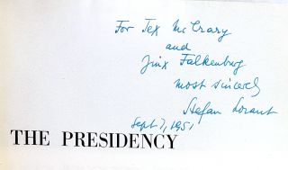 The Presidency: A Pictorial History of Presidential Elections from Washington to Truman [Inscribed to Tex McCrary and Jinx Falkenburg]