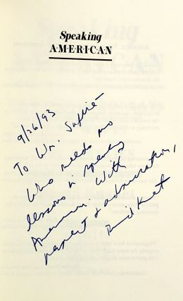 Speaking American: How the Democrats Can Win in the Nineties [Signed to William Safire]