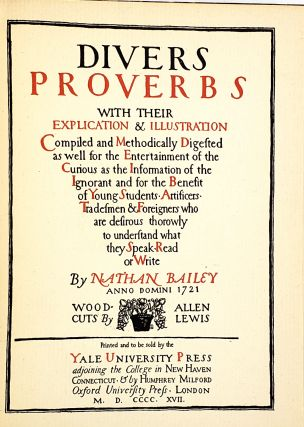 Divers Proverbs with their Explication and Illustration [William Safire Copy]