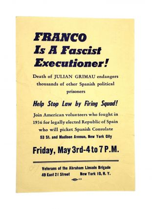 Broadside] FRANCO Is a Fascist Executioner! Abraham Lincoln Brigade