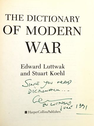The Dictionary of Modern War [inscribed to William Safire]