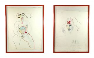 Apology 2, Apology 3 - Original Self-Portraits [Two in a series, one inscribed). Patti Smith