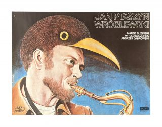 Polish Artistic Agency poster naming three jazz artists - Saxophonist Jan Ptaszyn Wróblewski in...