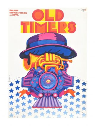 "Polish Jazz Society ""Old Timers"" poster - Locomotive and trumpet hybrid. Jan Sawka"