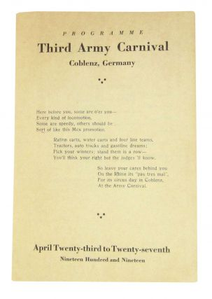 Programme Third Army Carnival. Coblenz, Germany: April Twenty-third to Twenty-seventh, Nineteen Hundred and Nineteen