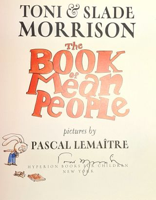 The Book of Mean People [Signed by Toni Morrison]