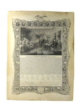 Broadside] The Declaration of Independence with Fac-similies of the Signatures and Likenesses of...