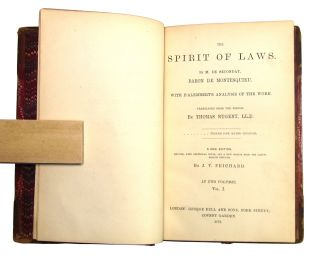 The Spirit of Laws [L'Esprit des lois] with D'Alembert's Analysis of the Work (Two Volumes)