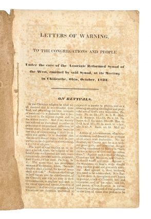 Letters of Warning to the Congregation and People Under the Care of the Associate Reformed Synod...