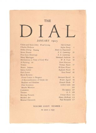 The Dial, January 1923, Volume LXXIV, Number 1 [containing Seven Poems and Four Line Drawings by...