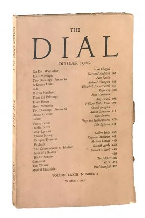 The Dial, October 1922, Volume LXXIII, Number 4 [containing More Memories by Yeats]. William...