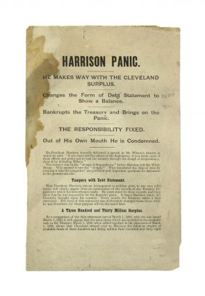 Harrison Panic. He Makes Way with the Cleveland Surplus. Benjamin Harrison