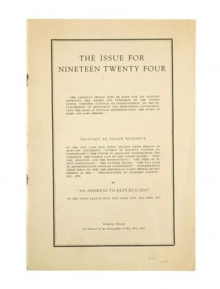 The Issue for Nineteen Twenty Four. Frank Hendrick