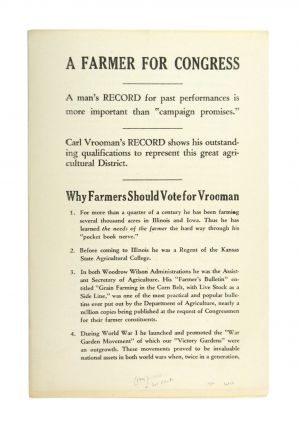 Drop title] A Farmer for Congress. Carl Vrooman