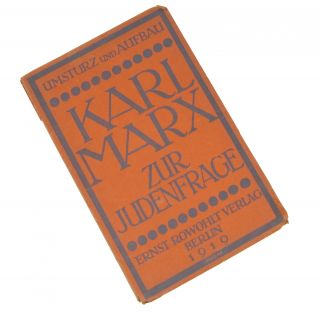 Zur Judenfrage [On the Jewish Question]. Karl Marx, Stefan Grossmann, intro