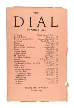 "The Dial, November 1921, Volume LXXI Number 5 [containing the drawing ""Rain-in-the-Face"" by an..."