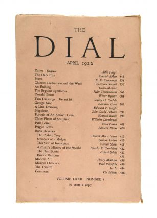 The Dial, April 1922, Volume LXXII, Number 4 [featuring Poem by Cummings]. E. E. Cummings...
