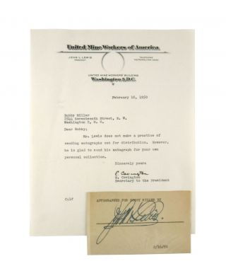 Typescript Note, Signed by Covington [With] Card Autographed by Lewis. United Mine Workers of...