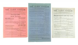 Collection of Three Broadsides] Absolutely Pure and No Adulteration. The Alden Vinegar. Alden...
